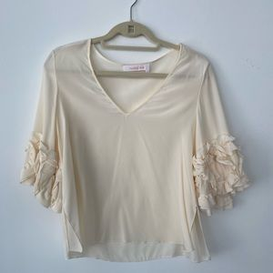 See By Chloe Off-White Top with Ruffle Sleeves